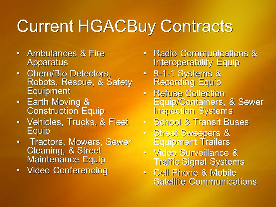 Current HGACBuy Contracts