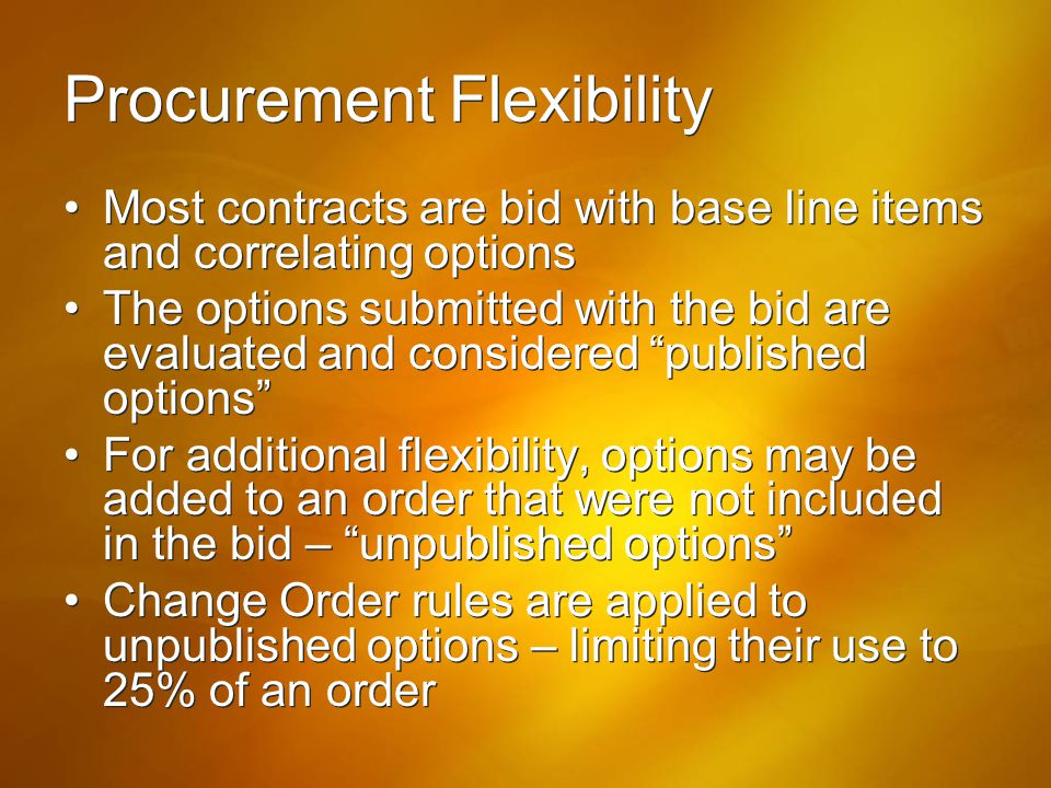 Procurement Flexibility