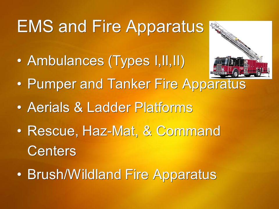 EMS and Fire Apparatus Ambulances (Types I,II,II)