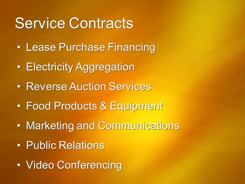 Service Contracts Lease Purchase Financing Electricity Aggregation
