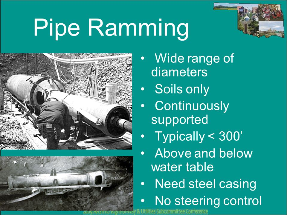Pipe Ramming Wide range of diameters Soils only Continuously supported