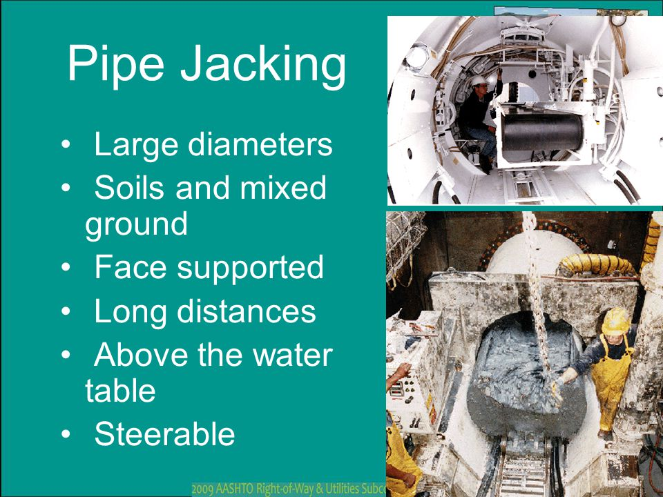 Pipe Jacking Large diameters Soils and mixed ground Face supported