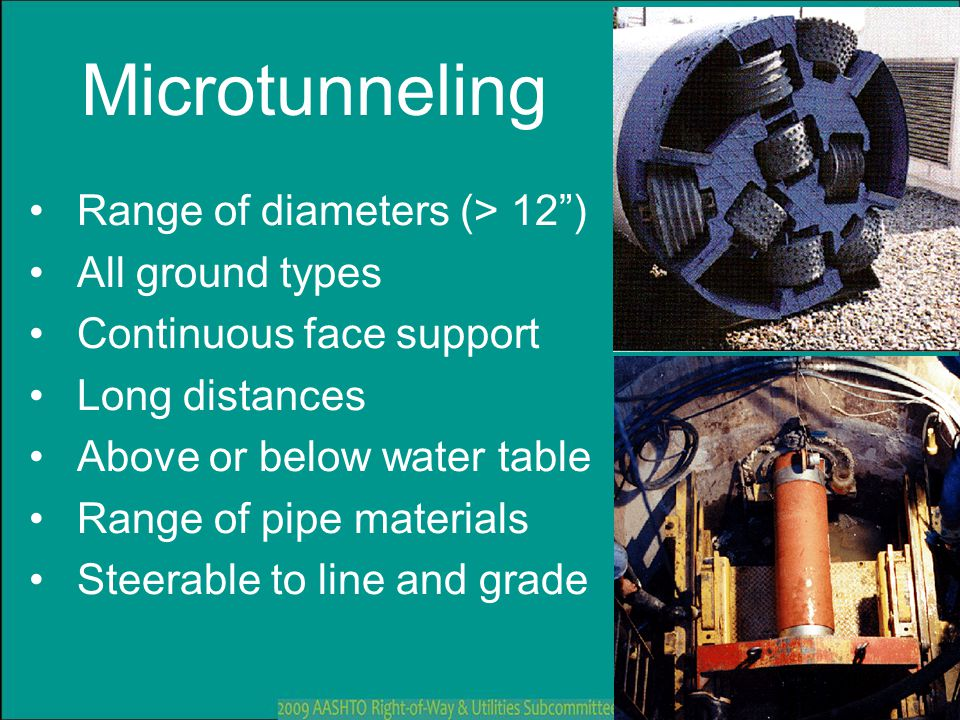 Microtunneling Range of diameters (> 12 ) All ground types