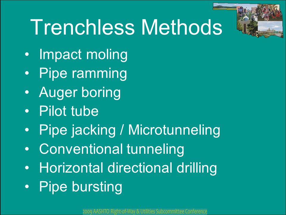 Trenchless Methods Impact moling Pipe ramming Auger boring Pilot tube
