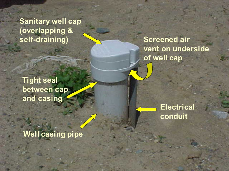 Sanitary well cap (overlapping & self-draining) Screened air. vent on underside. of well cap. Tight seal.