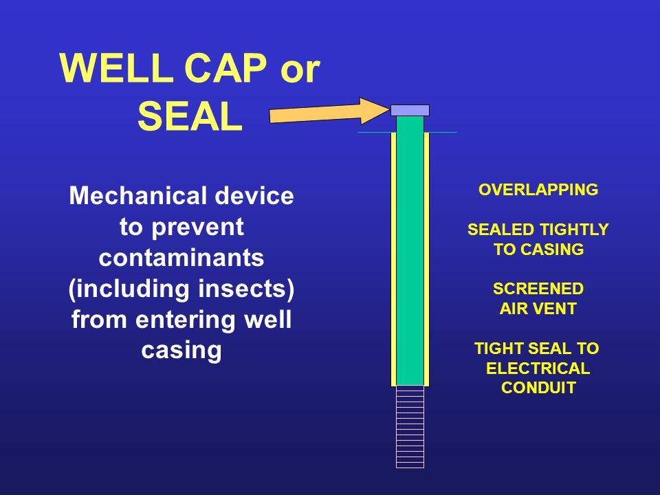 WELL CAP or SEAL Mechanical device to prevent contaminants (including insects) from entering well casing.
