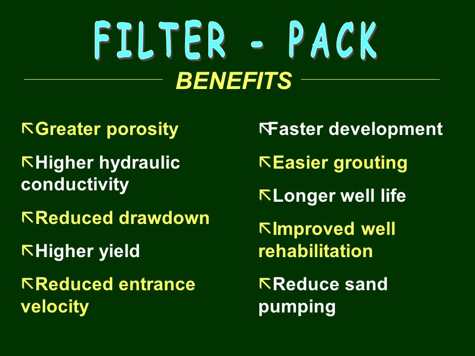 FILTER - PACK BENEFITS Greater porosity Higher hydraulic conductivity