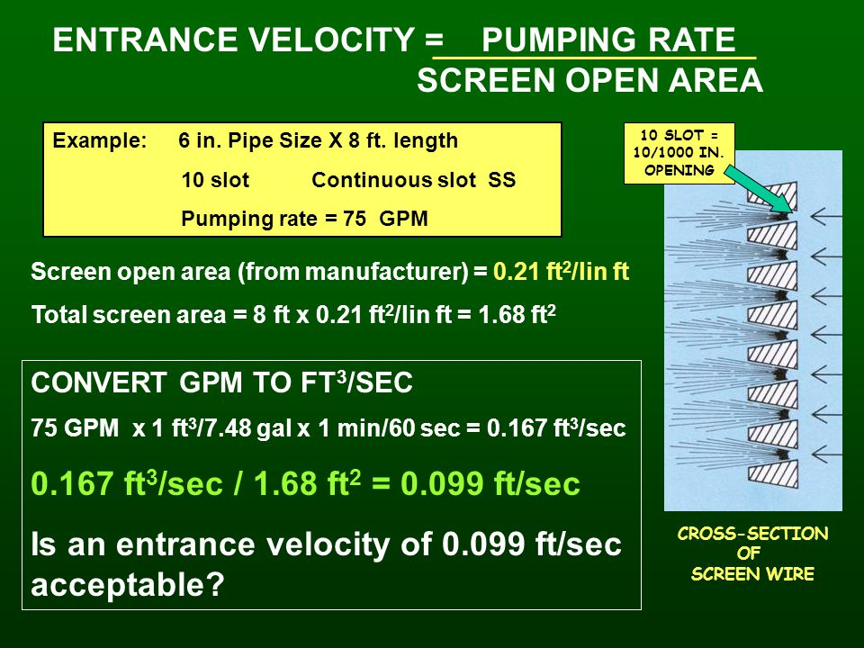 ENTRANCE VELOCITY = PUMPING RATE SCREEN OPEN AREA