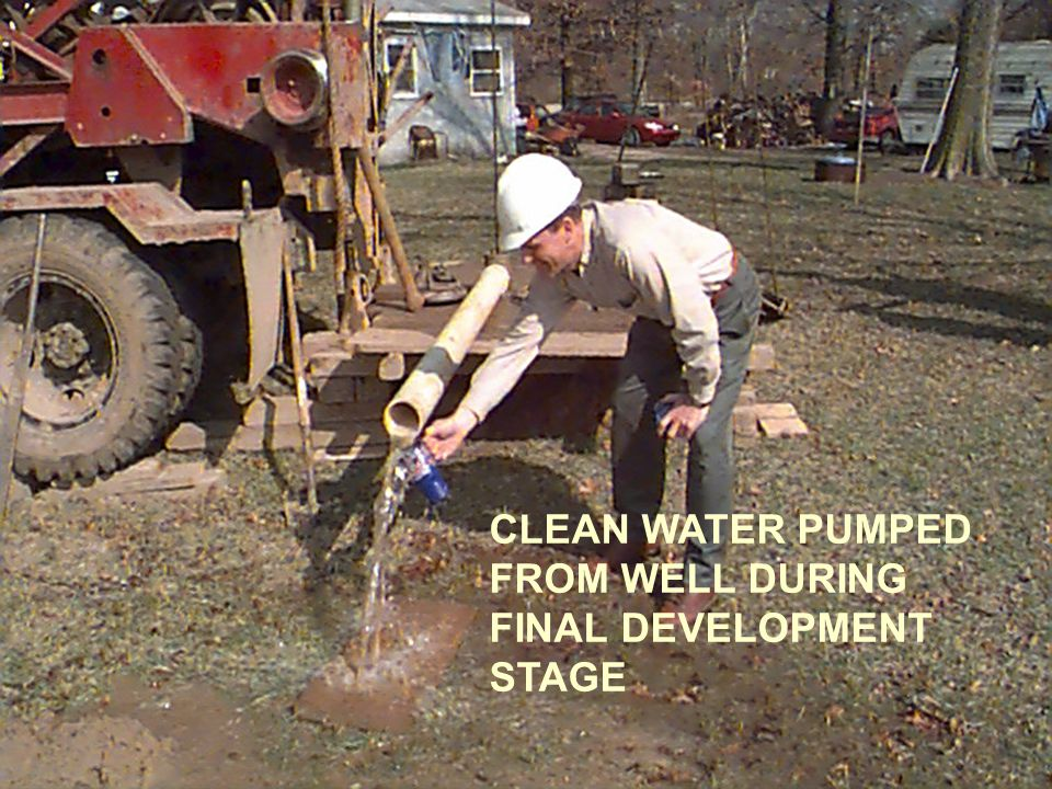 CLEAN WATER PUMPED FROM WELL DURING FINAL DEVELOPMENT STAGE