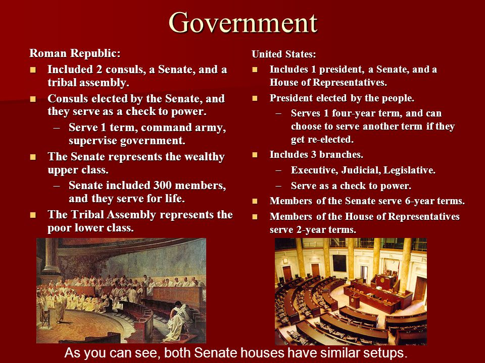 As you can see, both Senate houses have similar setups.