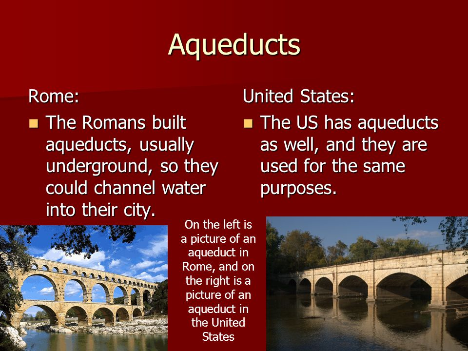 Aqueducts Rome: The Romans built aqueducts, usually underground, so they could channel water into their city.