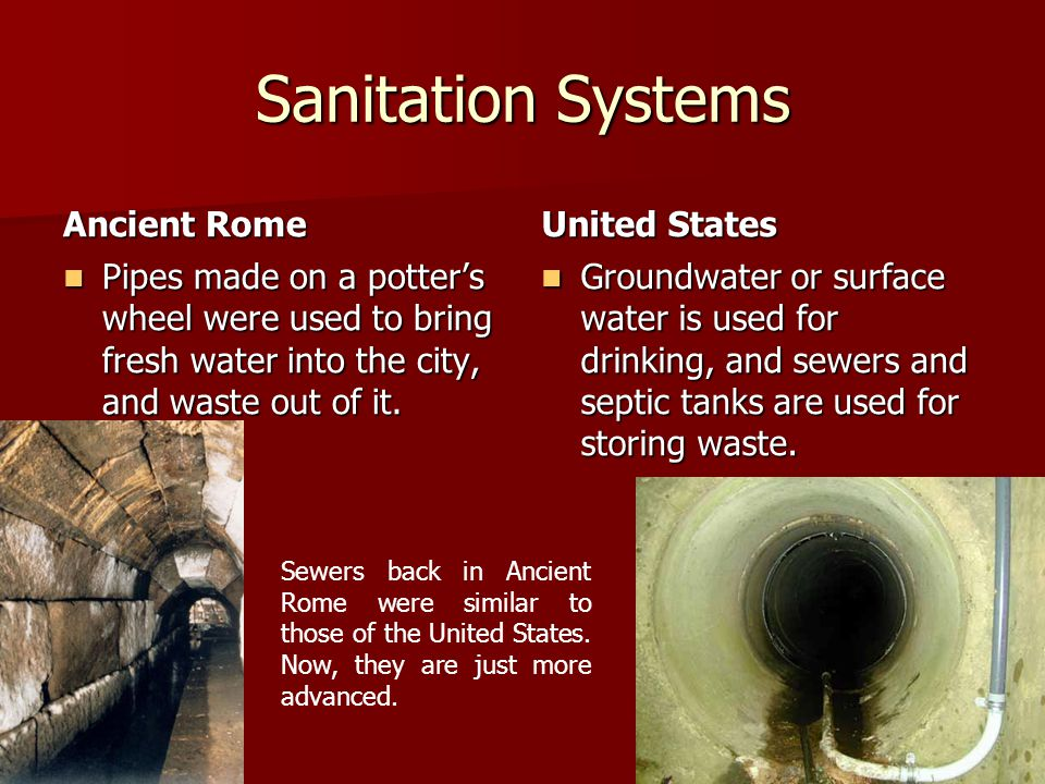 Sanitation Systems Ancient Rome United States
