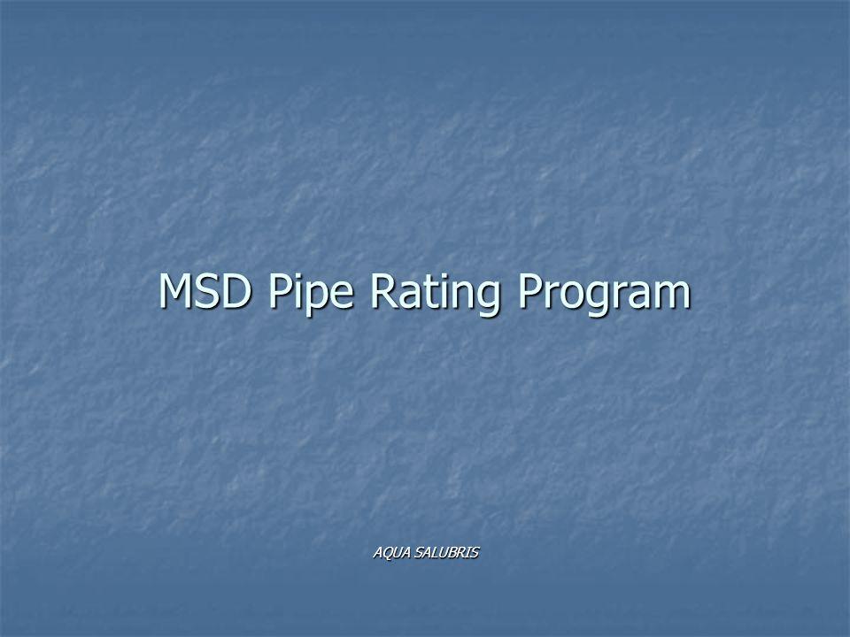 MSD Pipe Rating Program AQUA SALUBRIS