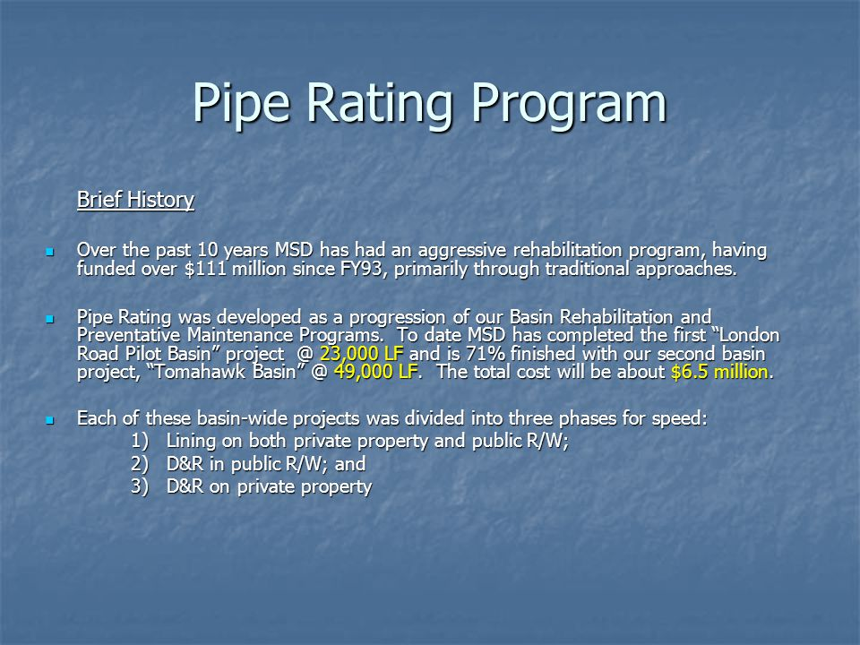 Pipe Rating Program Brief History