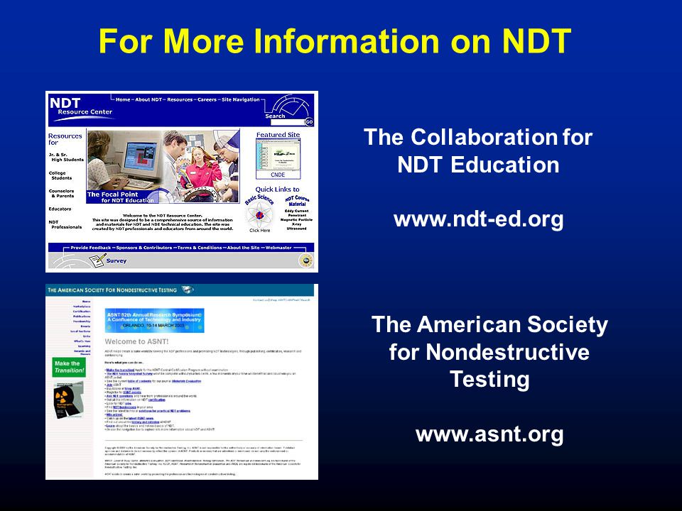 For More Information on NDT