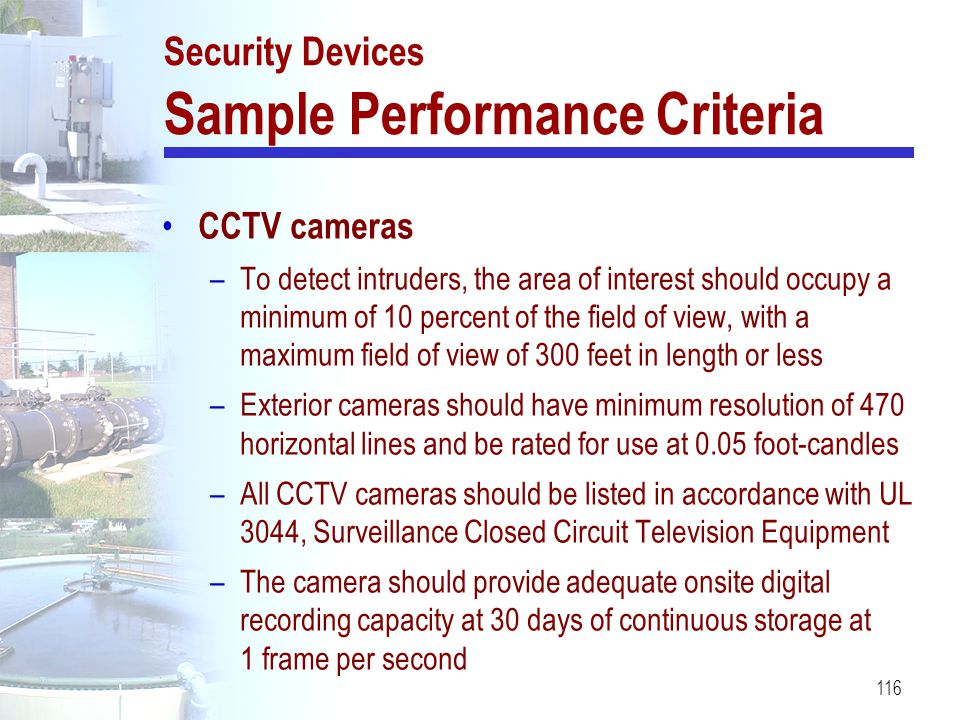 Security Devices Sample Performance Criteria