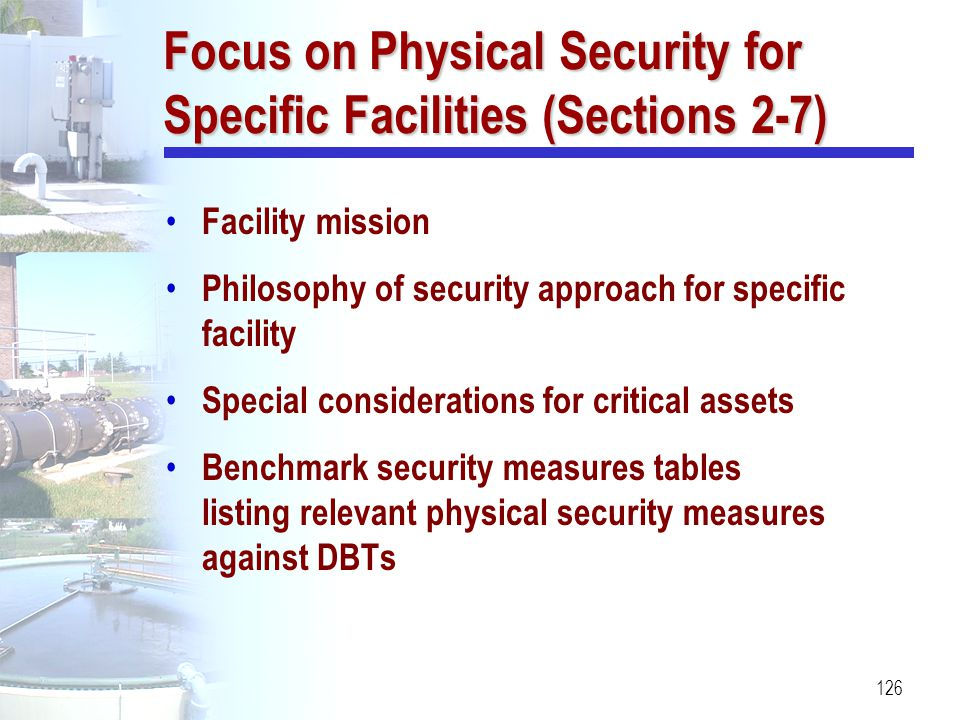 Focus on Physical Security for Specific Facilities (Sections 2-7)