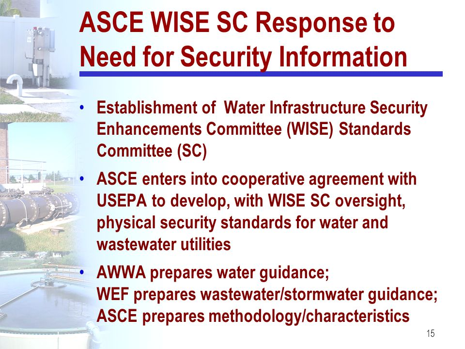 ASCE WISE SC Response to Need for Security Information