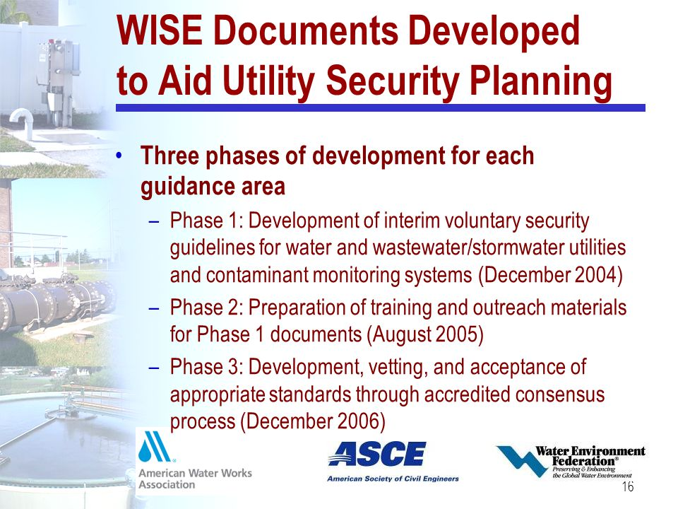 WISE Documents Developed to Aid Utility Security Planning