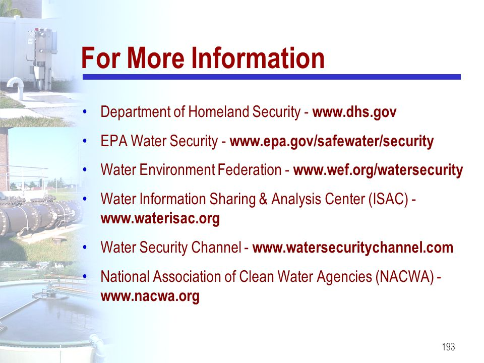 For More Information Department of Homeland Security - www.dhs.gov