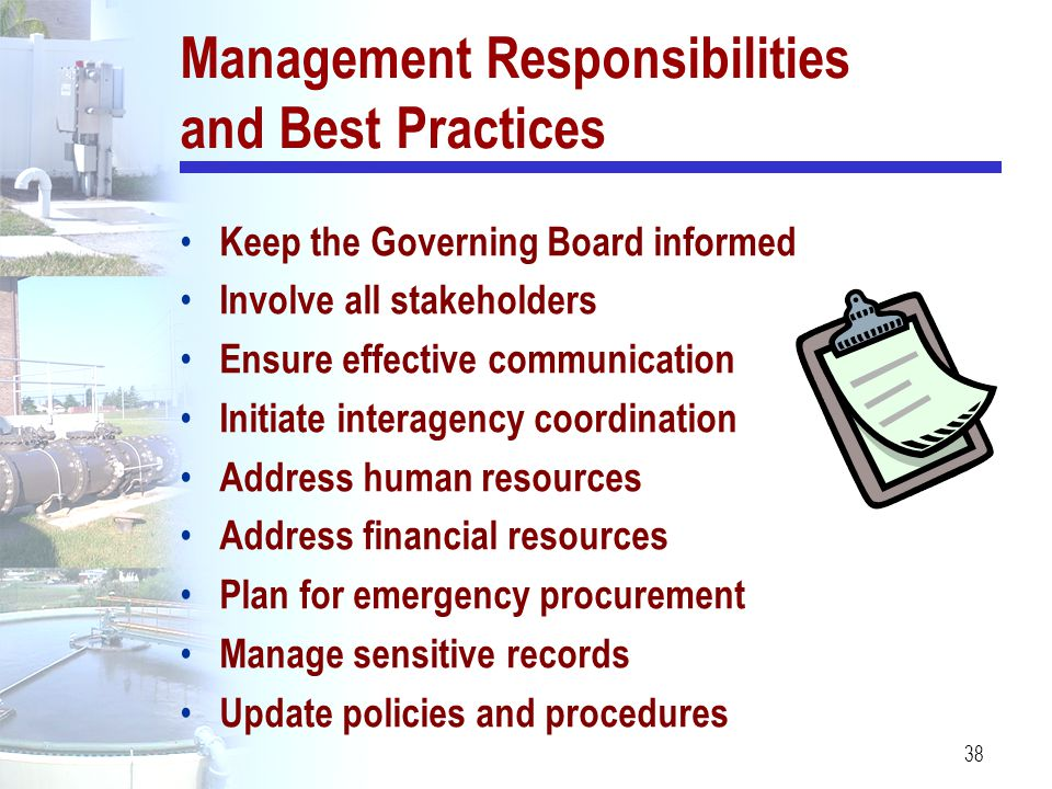 Management Responsibilities and Best Practices
