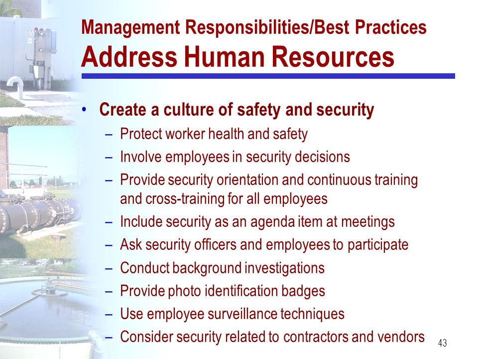 Management Responsibilities/Best Practices Address Human Resources