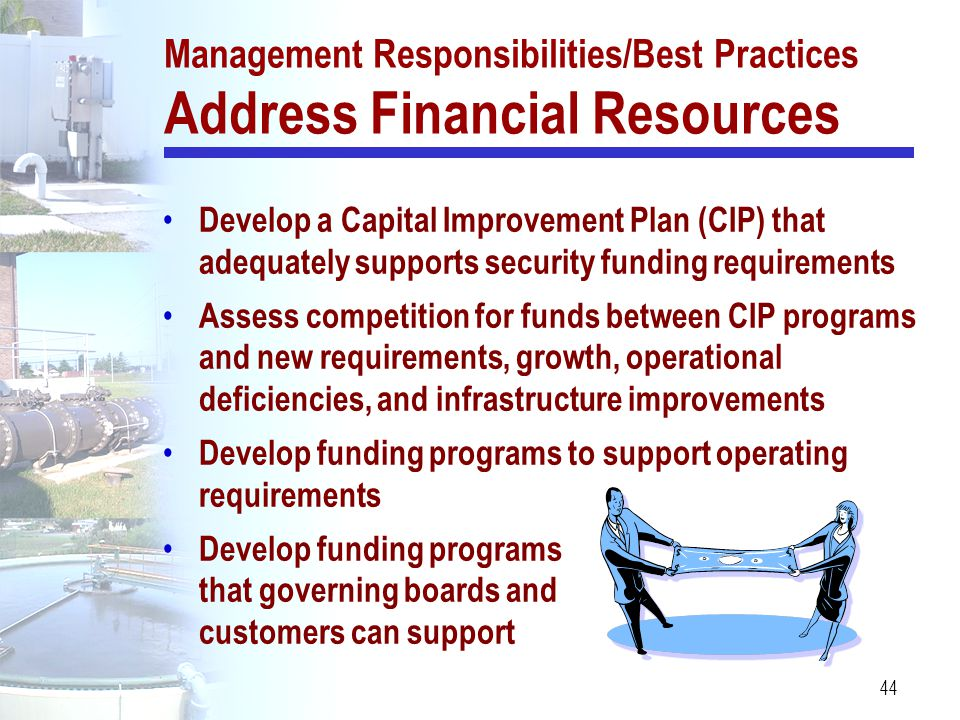 Management Responsibilities/Best Practices Address Financial Resources