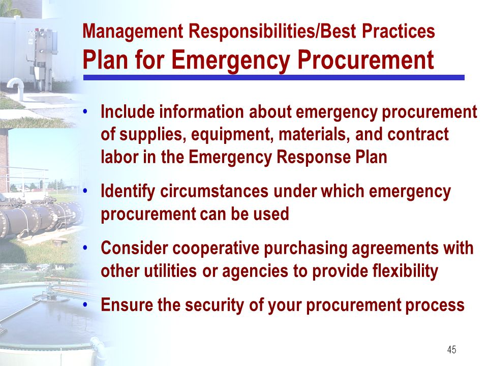 Management Responsibilities/Best Practices Plan for Emergency Procurement