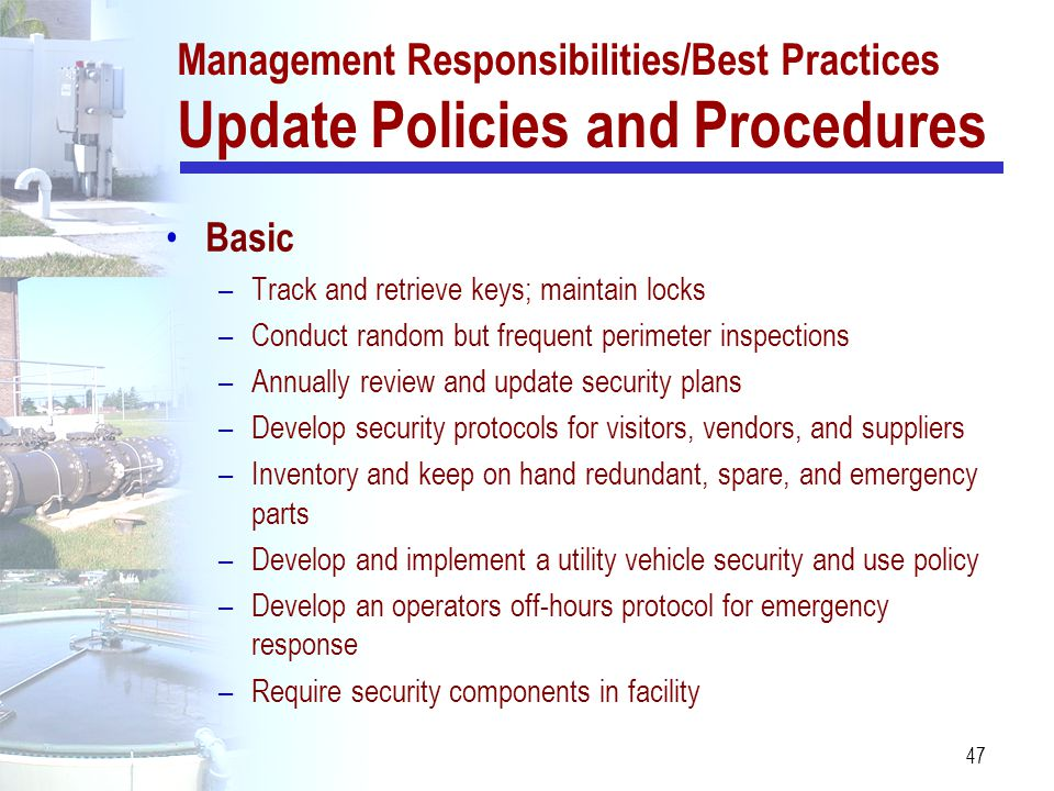 Management Responsibilities/Best Practices Update Policies and Procedures