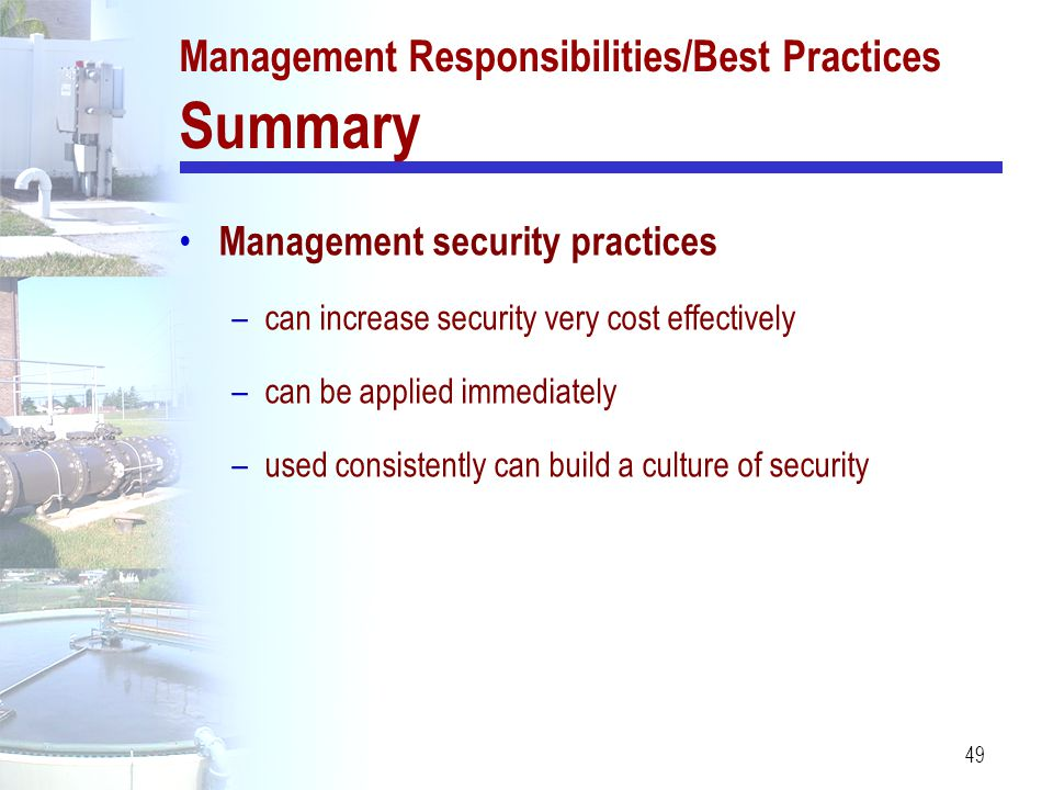 Management Responsibilities/Best Practices Summary