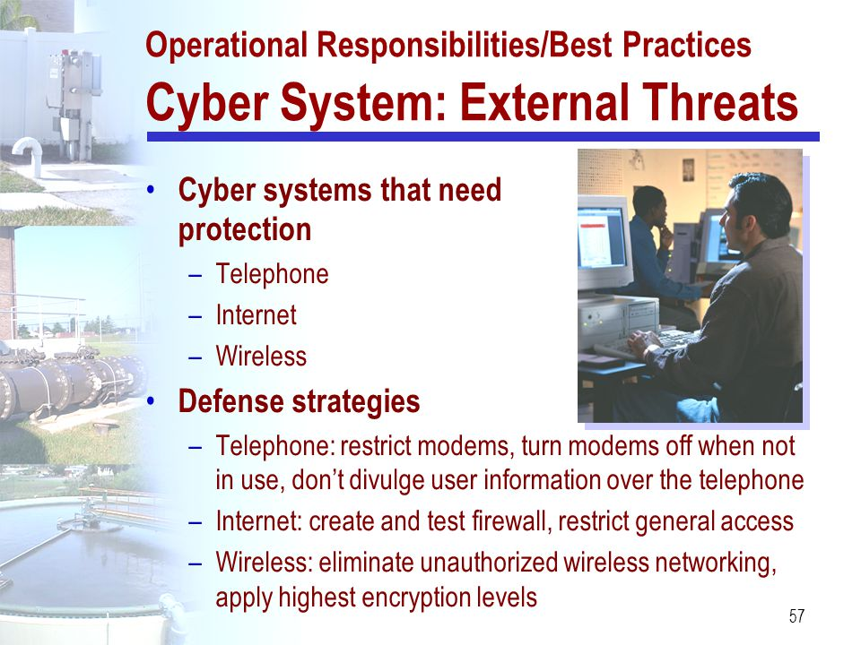 Operational Responsibilities/Best Practices Cyber System: External Threats