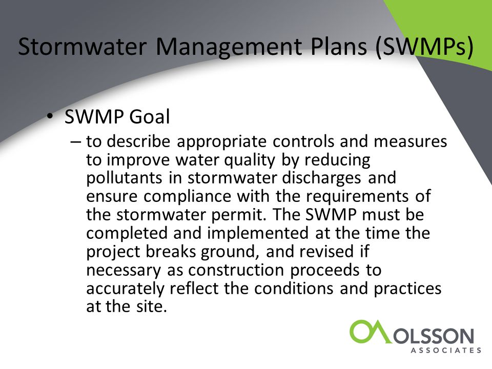 Stormwater Management Plans (SWMPs)