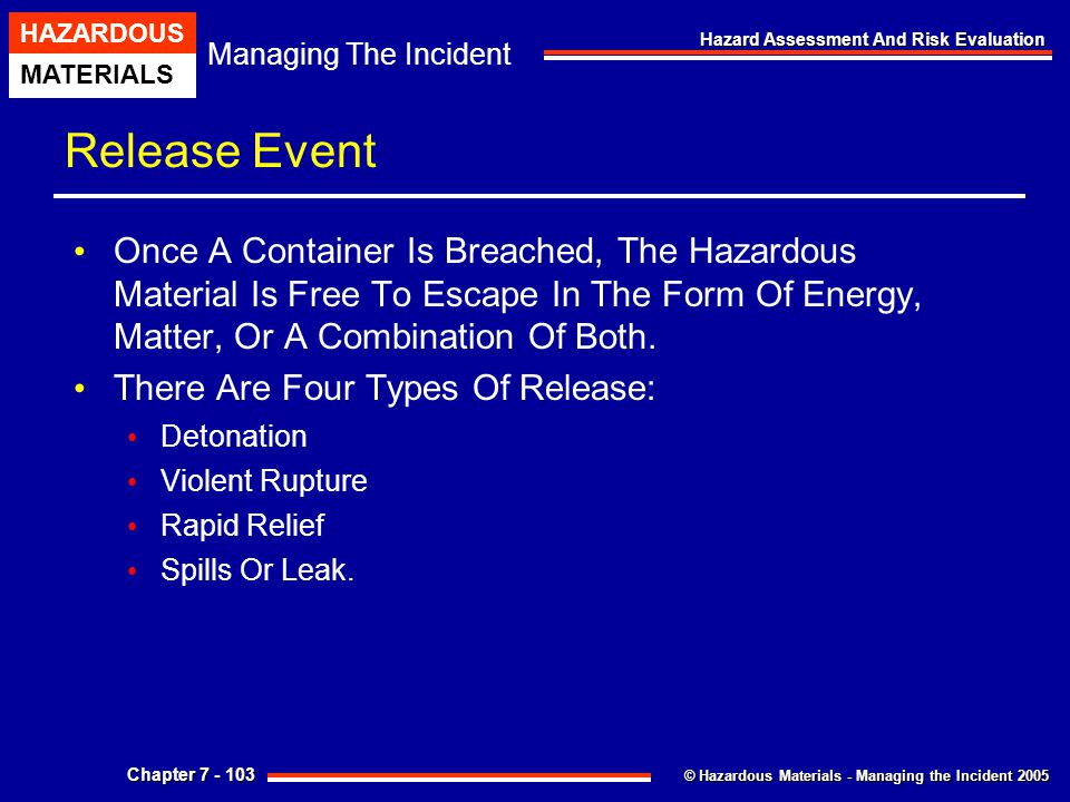 Release Event Once A Container Is Breached, The Hazardous Material Is Free To Escape In The Form Of Energy, Matter, Or A Combination Of Both.