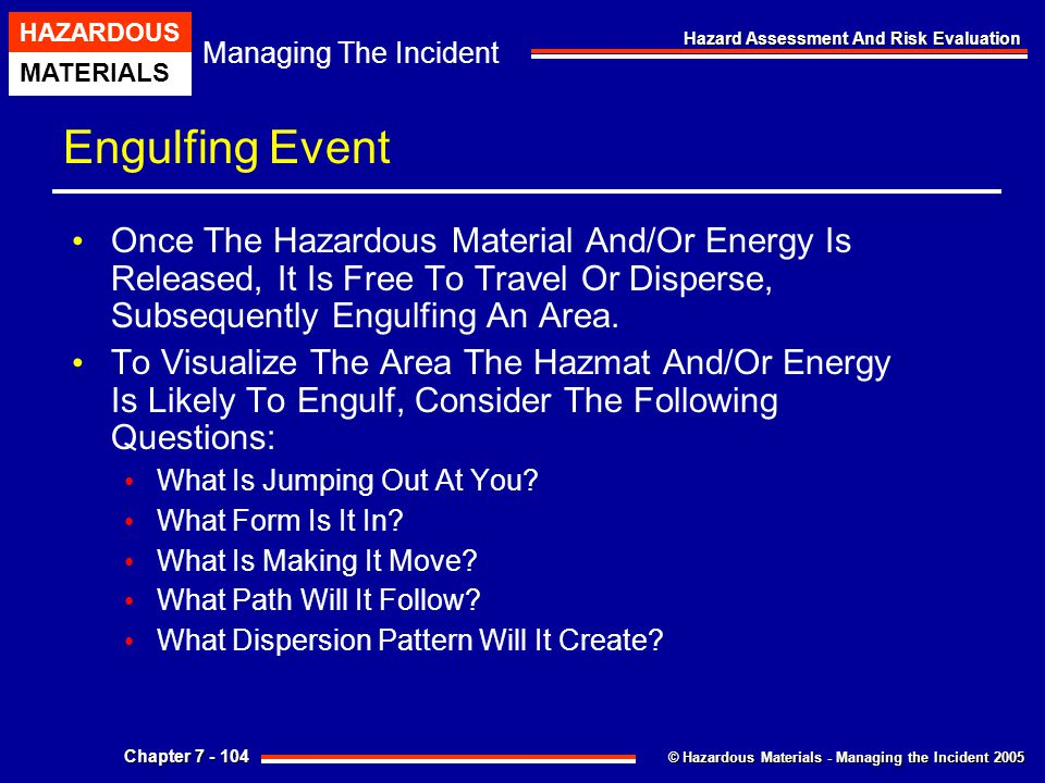 Engulfing Event Once The Hazardous Material And/Or Energy Is Released, It Is Free To Travel Or Disperse, Subsequently Engulfing An Area.