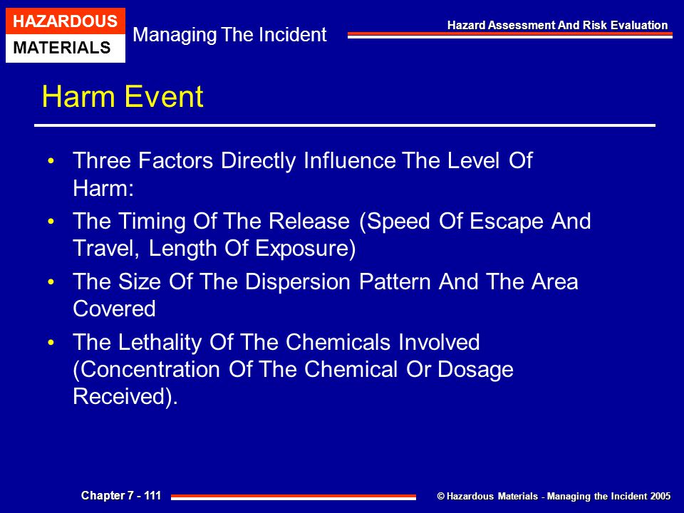 Harm Event Three Factors Directly Influence The Level Of Harm: