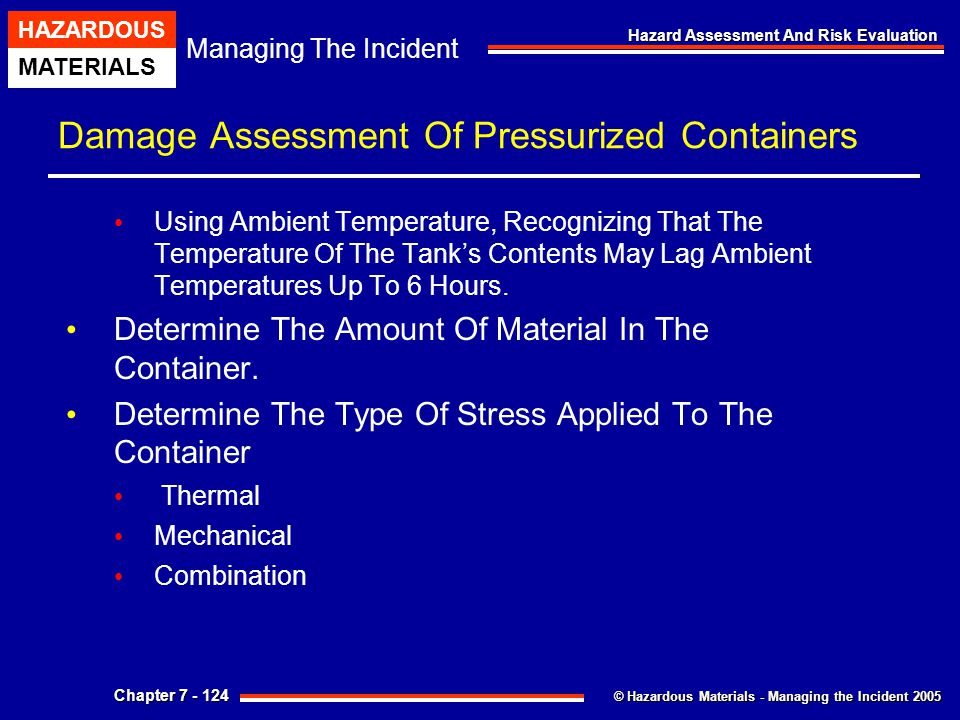 Damage Assessment Of Pressurized Containers