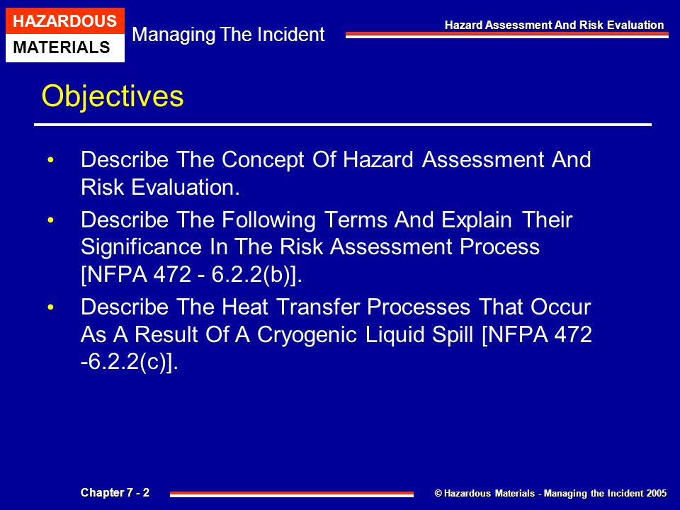 Objectives Describe The Concept Of Hazard Assessment And Risk Evaluation.