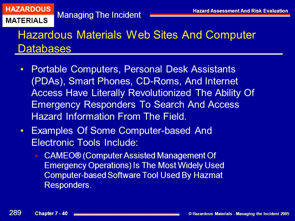 Hazardous Materials Web Sites And Computer Databases