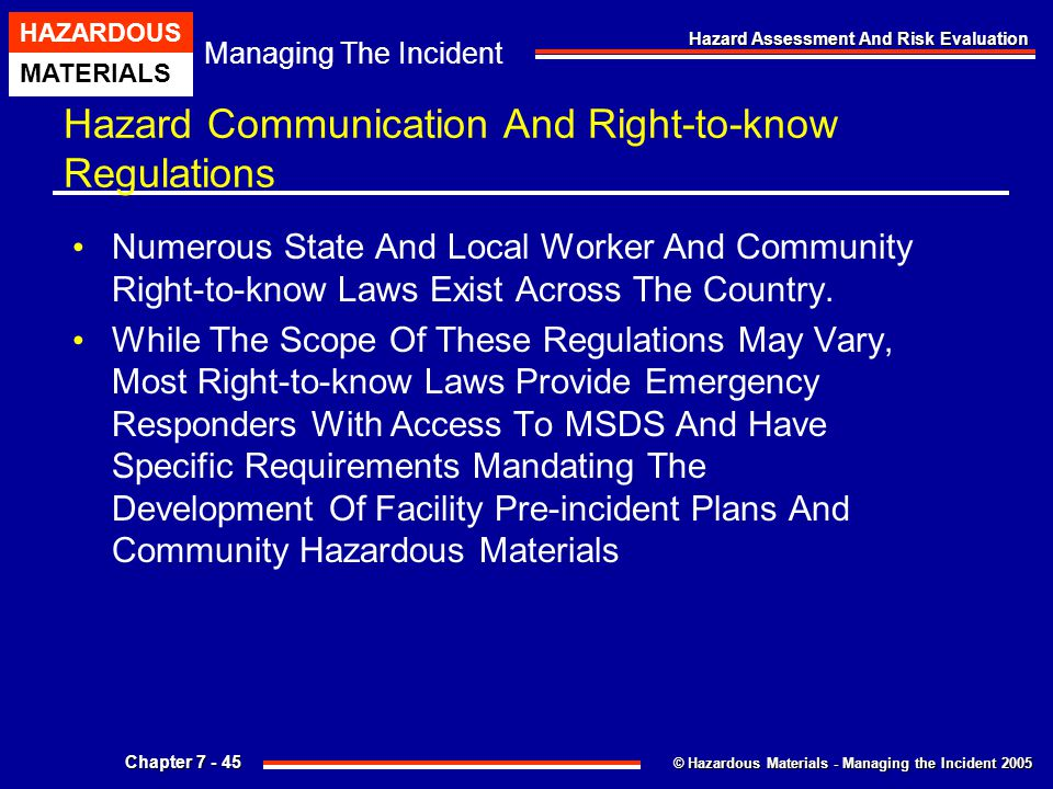 Hazard Communication And Right-to-know Regulations