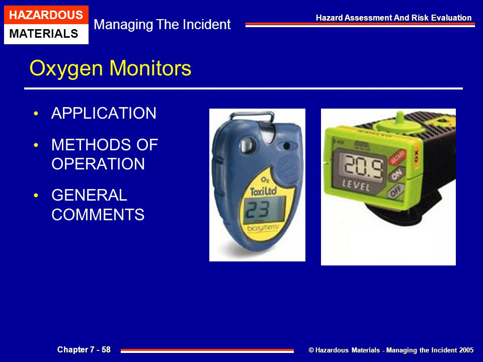 Oxygen Monitors APPLICATION METHODS OF OPERATION GENERAL COMMENTS