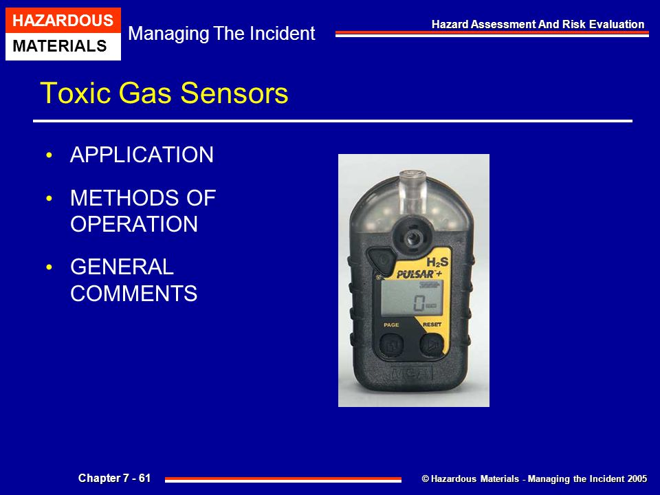 Toxic Gas Sensors APPLICATION METHODS OF OPERATION GENERAL COMMENTS