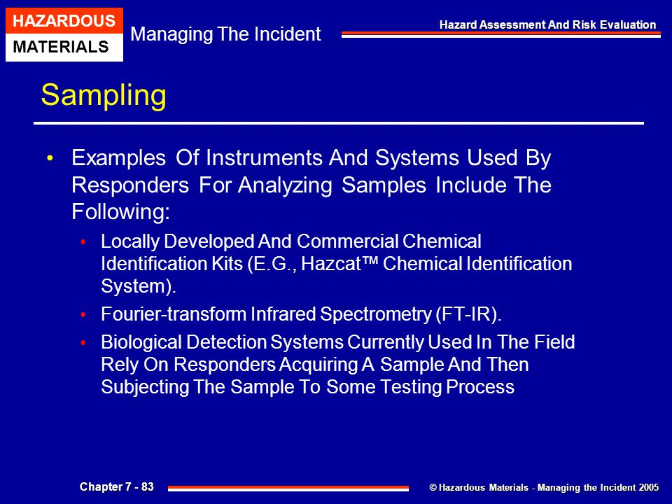Sampling Examples Of Instruments And Systems Used By Responders For Analyzing Samples Include The Following:
