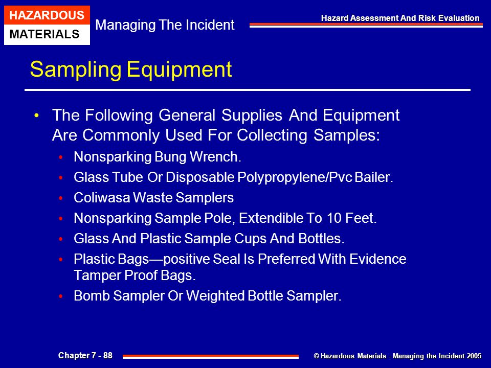 Sampling Equipment The Following General Supplies And Equipment Are Commonly Used For Collecting Samples: