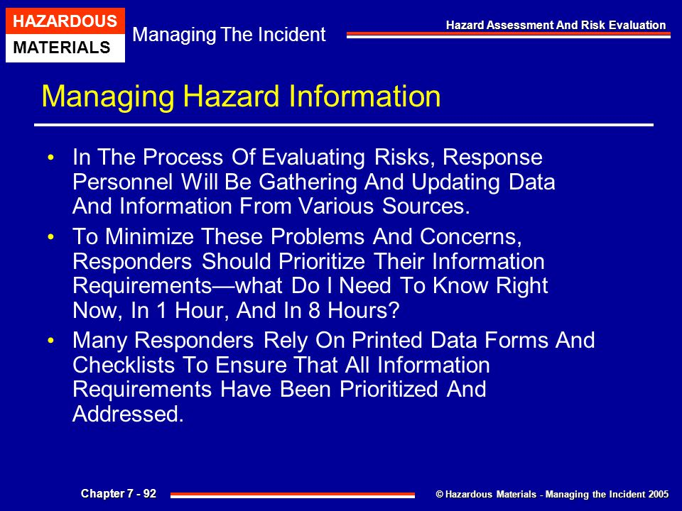 Managing Hazard Information