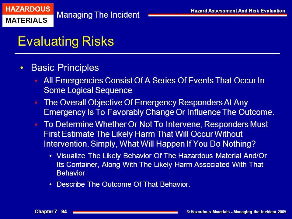 Evaluating Risks Basic Principles