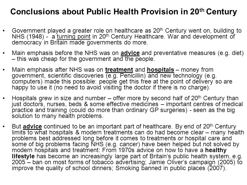 Conclusions about Public Health Provision in 20th Century
