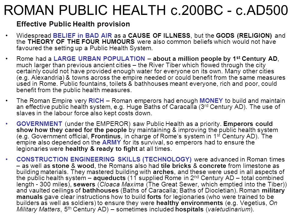 ROMAN PUBLIC HEALTH c.200BC - c.AD500