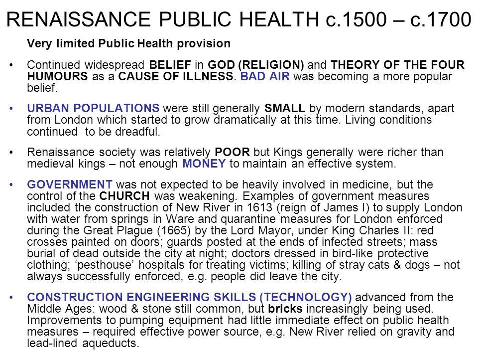 RENAISSANCE PUBLIC HEALTH c.1500 – c.1700