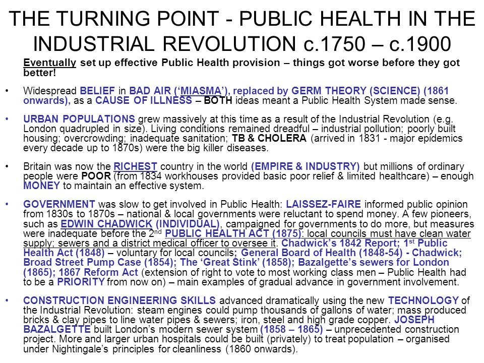 THE TURNING POINT - PUBLIC HEALTH IN THE INDUSTRIAL REVOLUTION c