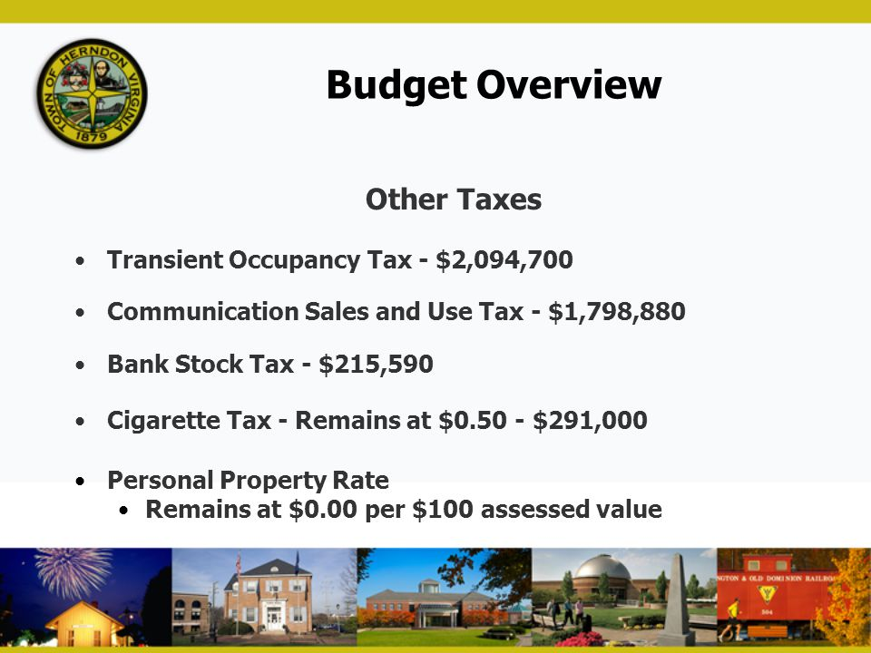 Budget Overview Other Taxes Transient Occupancy Tax - $2,094,700